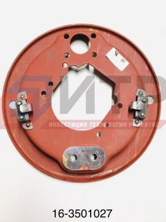 Щит переднего тормоза левый со скобой 16-3501027
